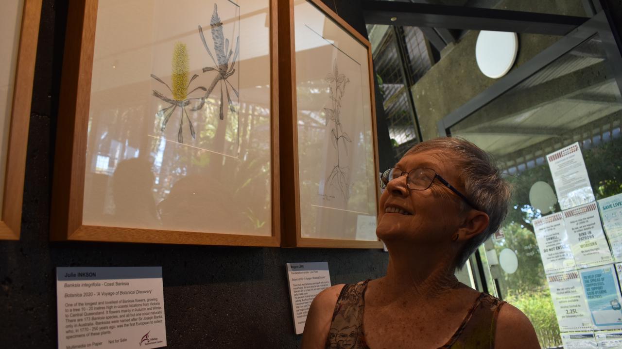 West Mackay artist Julie Inkson at the Mackay Botanical Art Interest Group exhibition at the Botanic Gardens Cafe. Picture: Zizi Averill
