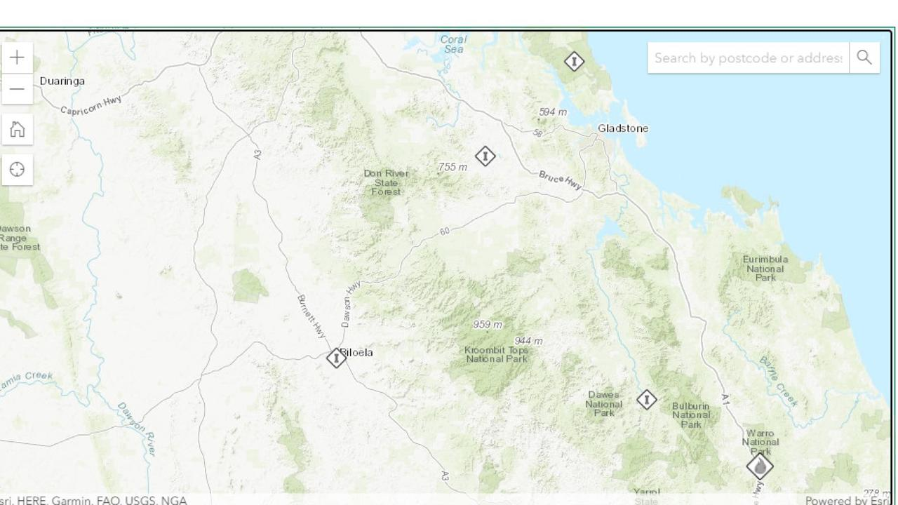 The current bushfires page on the Rural Fire Service website shows five fires burning within 100km of the Gladstone CBD. The blazes are at Lowmead, Boyne Valley, Prospect, Bracewell and Curtis Island.