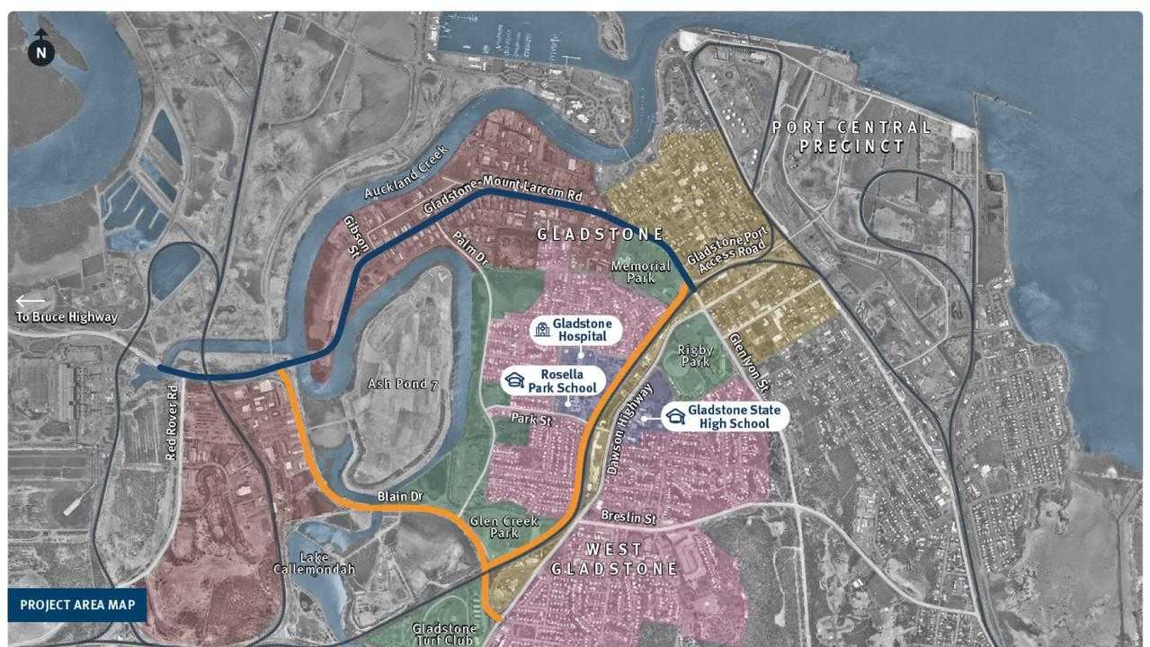 The two options for the new Port Access Road in Gladstone are shown in blue and orange.