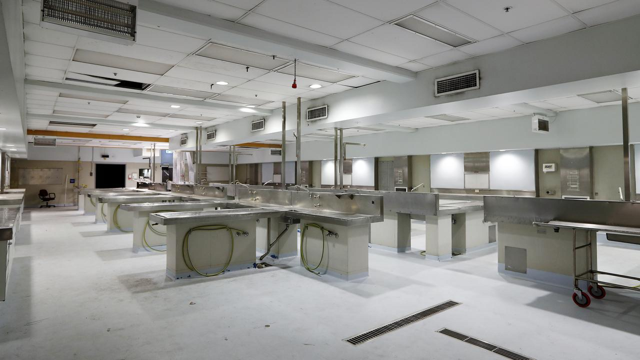 The autopsy tables inside Glebe morgue. Picture: Sam Ruttyn