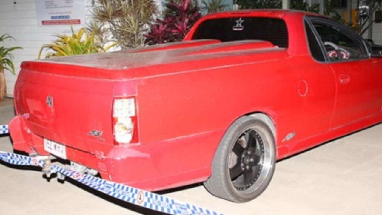 Police are searching for a man who was driving this 2003 red Holden Commodore utility with Queensland registration 162 WHV in Moranbah on Wednesday night where another man, 47, was seriously assaulted.