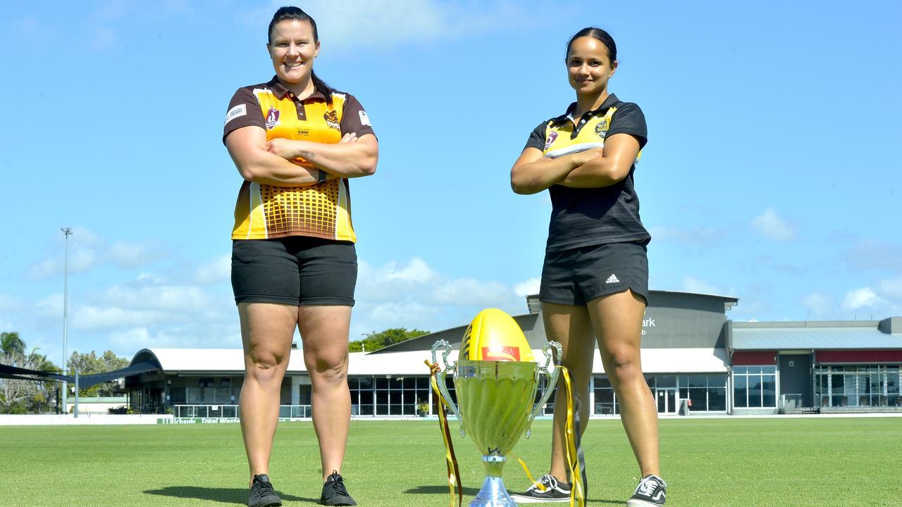 Mackay City Hawks captain Mel McLeod (left) and Bakers Creek Tigresses captain Dominique Healy. Photo: Callum Dick