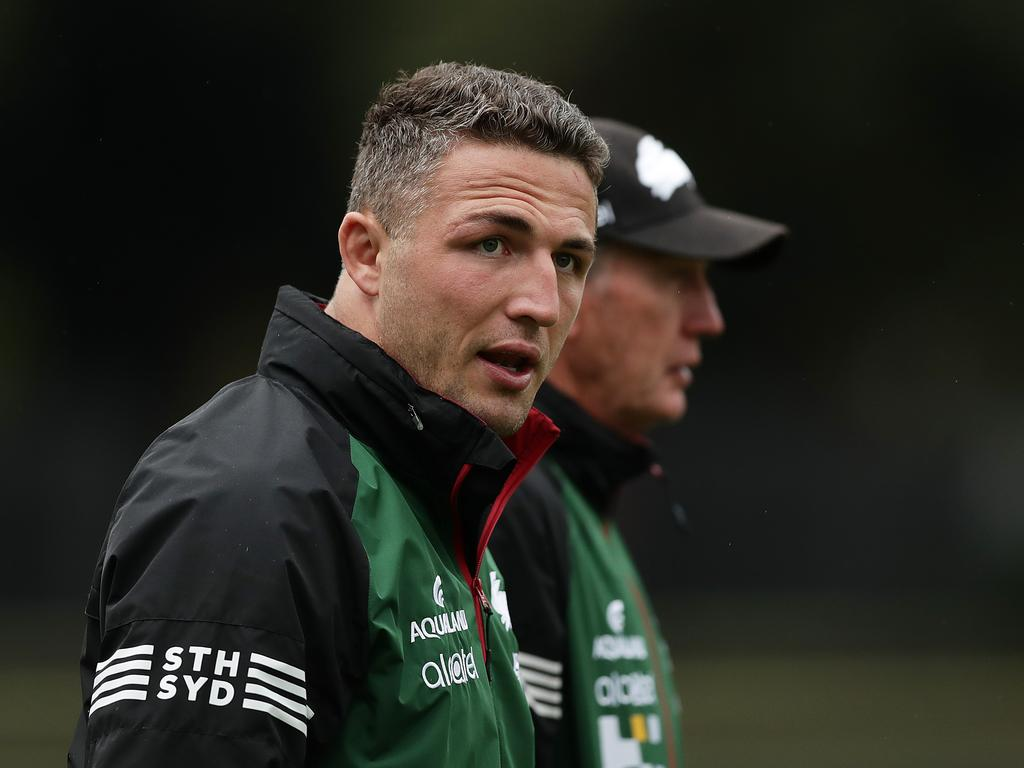 Sam Burgess with Wayne Bennett in March.