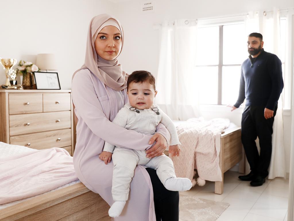 Rana Elasmar with her nine-month-old baby Zayn and husband Azzam Elasmar. Picture: Sam Ruttyn