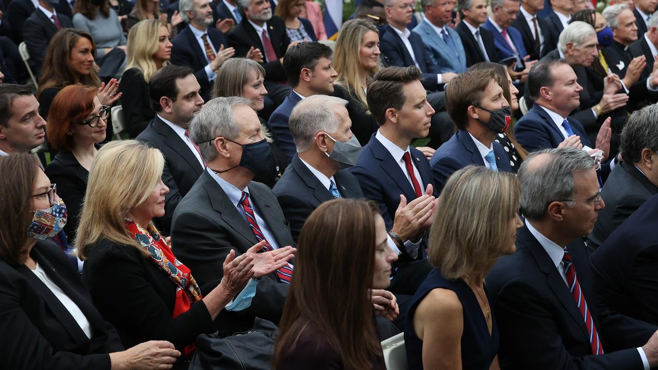 Guests, most of them without masks, crammed together in the White House's Rose Garden on September 26. Picture: Chip Somodevilla/Getty Images