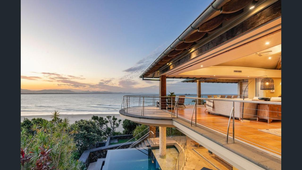 This home at Wategos beach has reportedly sold for a record-breaking $22 million.