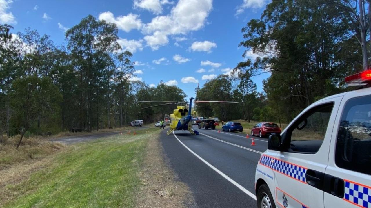 RACQ LifeFlight Rescue flew a man in his late teens to Royal Brisbane Hospital after he was involved in a two-car crash on Landsborough Maleny Rd on October 4.