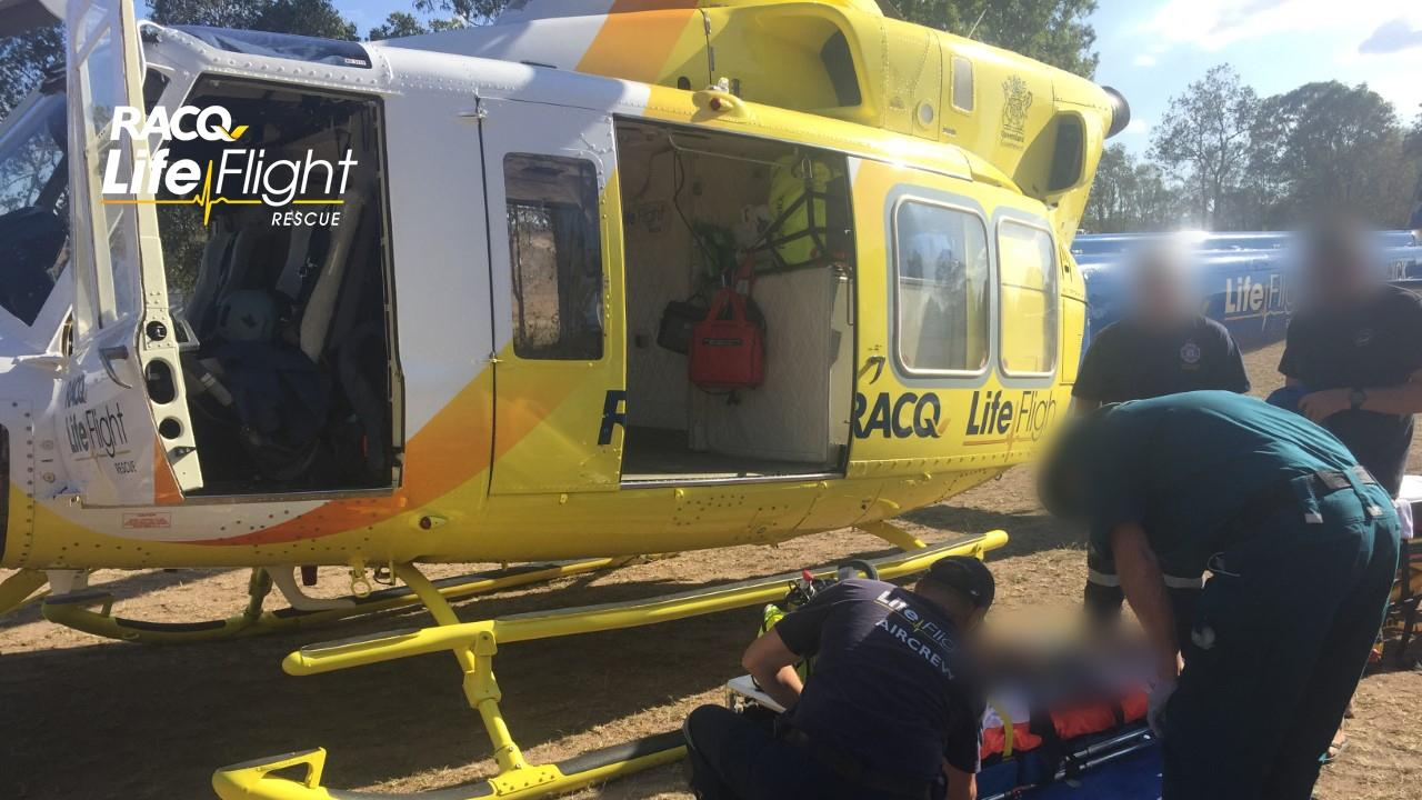 The Bundaberg-based RACQ LifeFlight Rescue Helicopter was called to a motorbike crash in the Gladstone region yesterday. Photo: RACQ LifeFlight Rescue