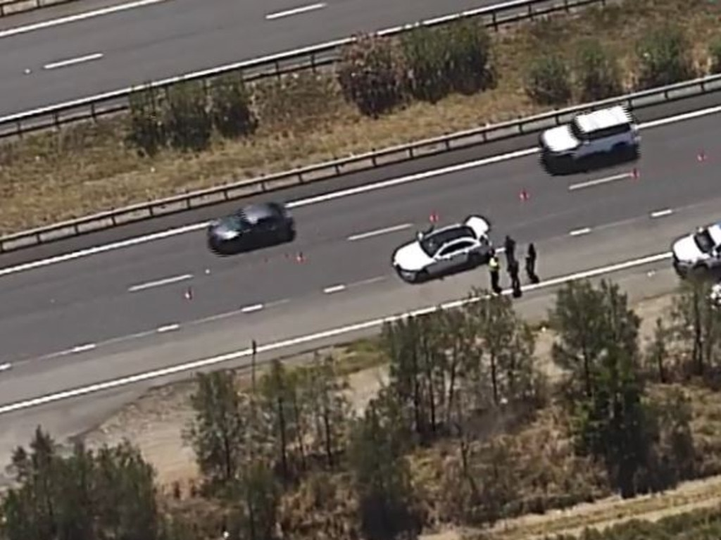 A police chase had broken out in Brisbane's north this morning. Picture: 7News