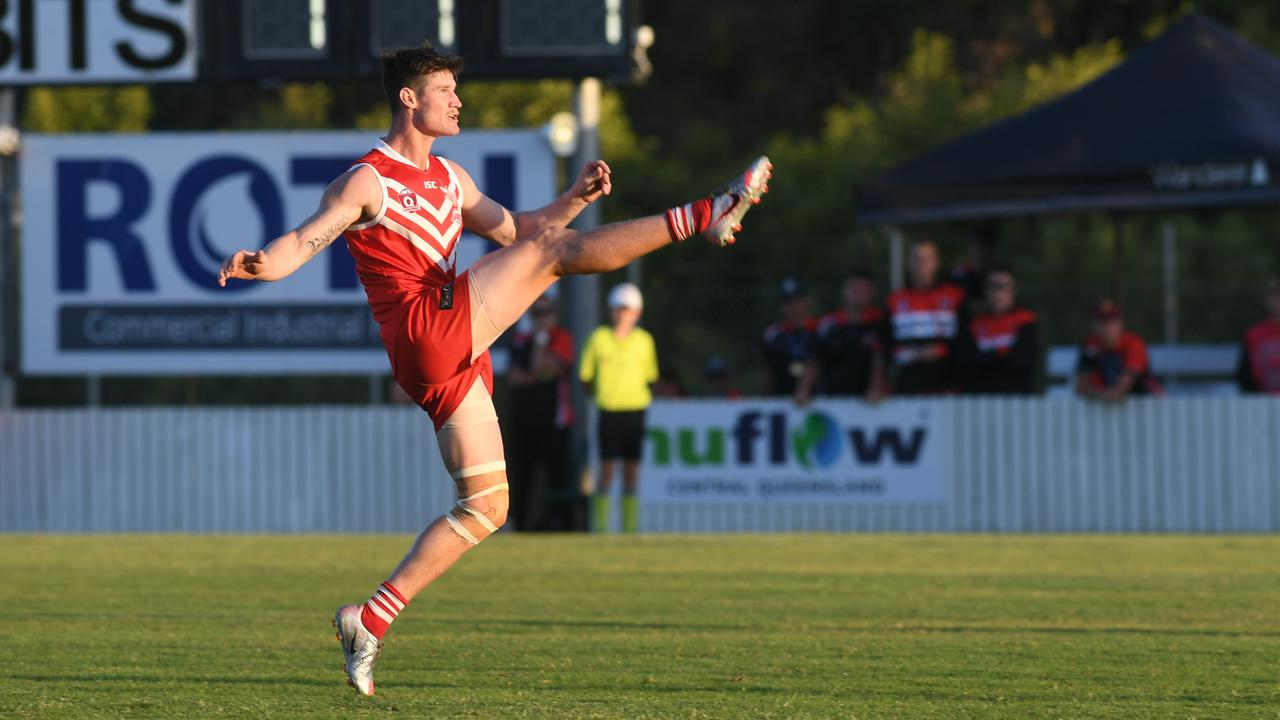 Thomas Cossens kicked four goals in Yeppoon's grand final win. Photo: Jann Houley