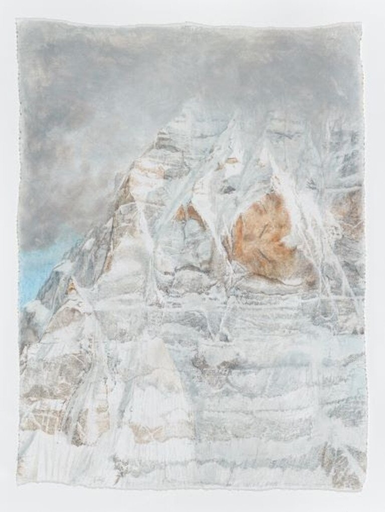 Sarah Tomasetti, Kailash North Face IV, 2019. Oil, graphite and incision on fresco plaster. Courtesy of the artist and Australian Galleries Melbourne and Sydney