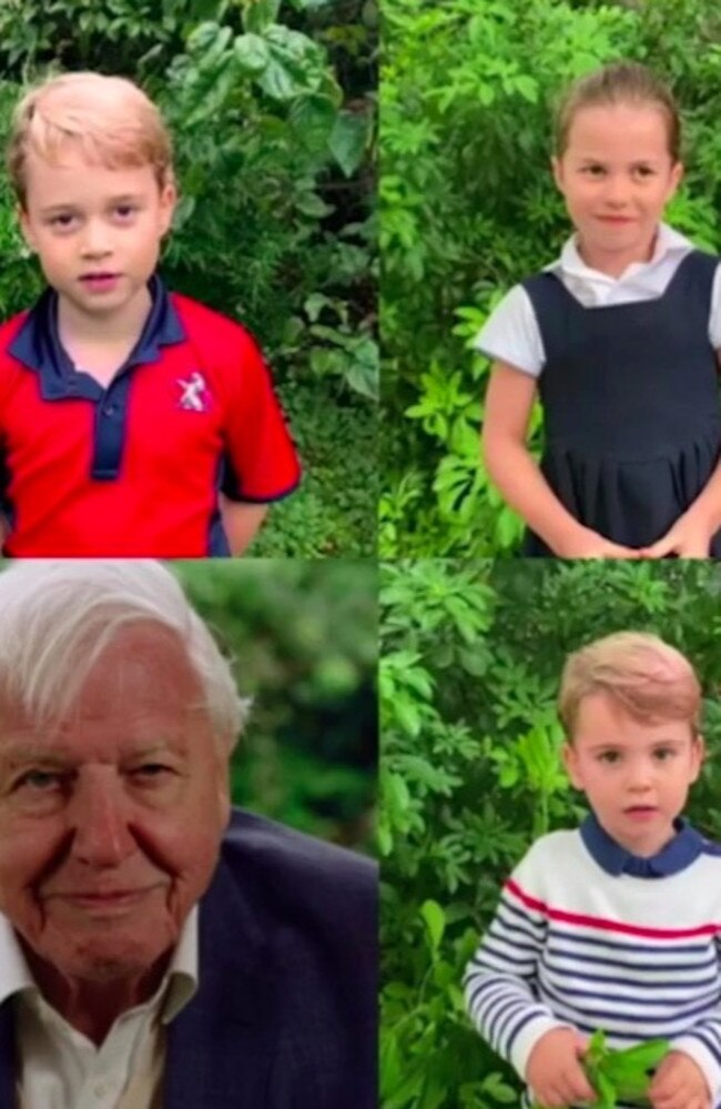 Prince Louis, Princess Charlotte, Sir David Attenborough and Prince George appeared in a video together talking about wildlife.