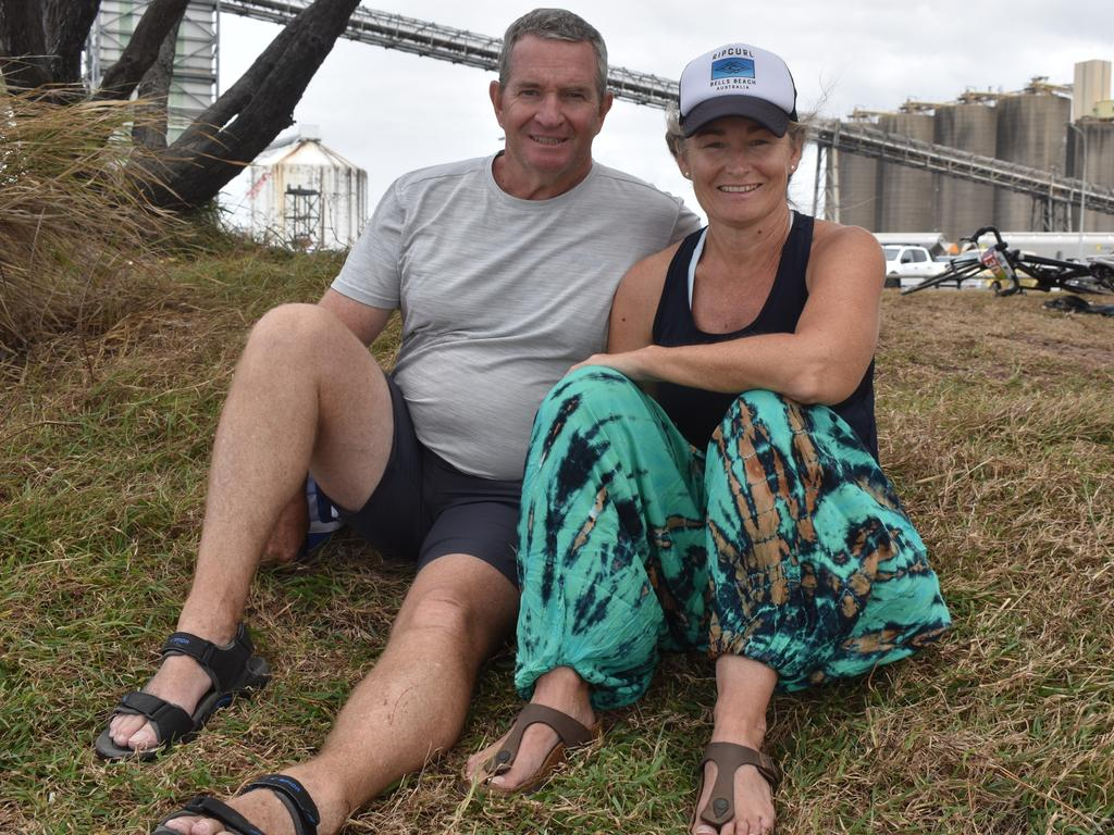 Adrian O'Shea and Karen O'Shea at the Queensland Kite Foil State Championships, North Wall, Mackay Harbour, October 4, 2020.