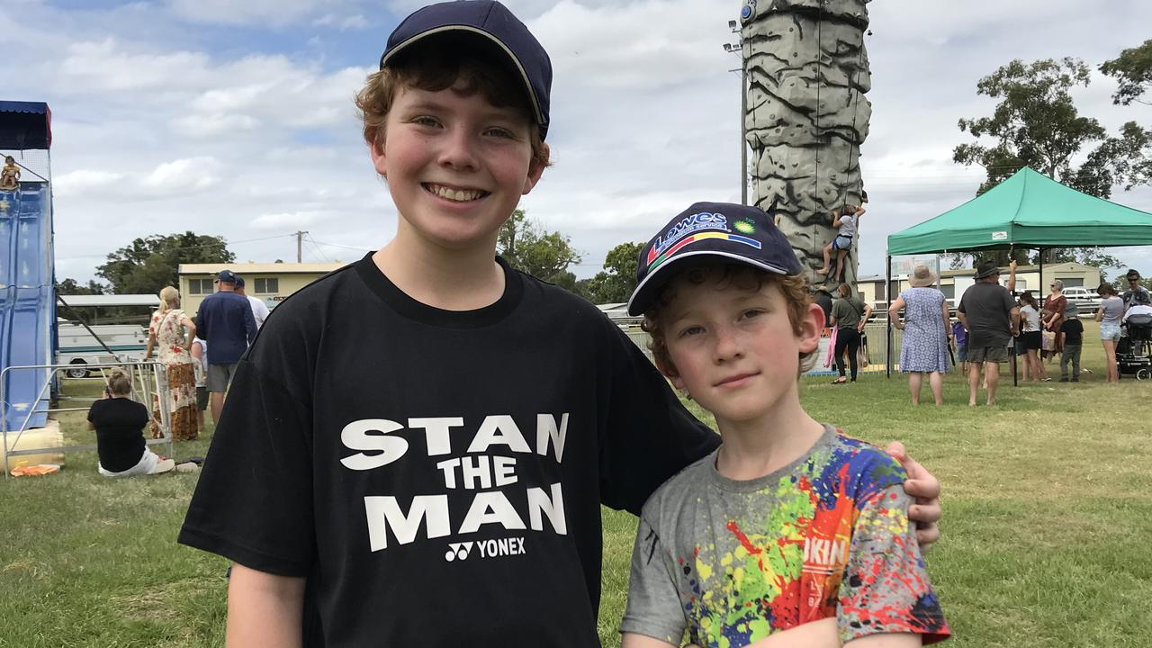 Stanley and Freddie Strange enjoying a day out at the Maclean Family Carnival at Maclean Showgrounds during the October long weekend.