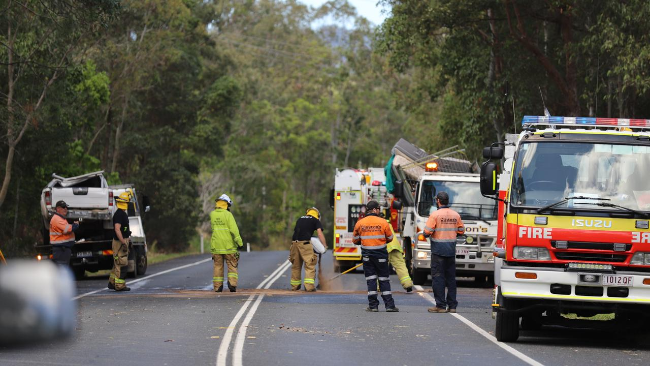 Emergency services were called to a two-car collision at Landsborough Maleny Rd which left four people in hospital, including a teenager in serious condition.