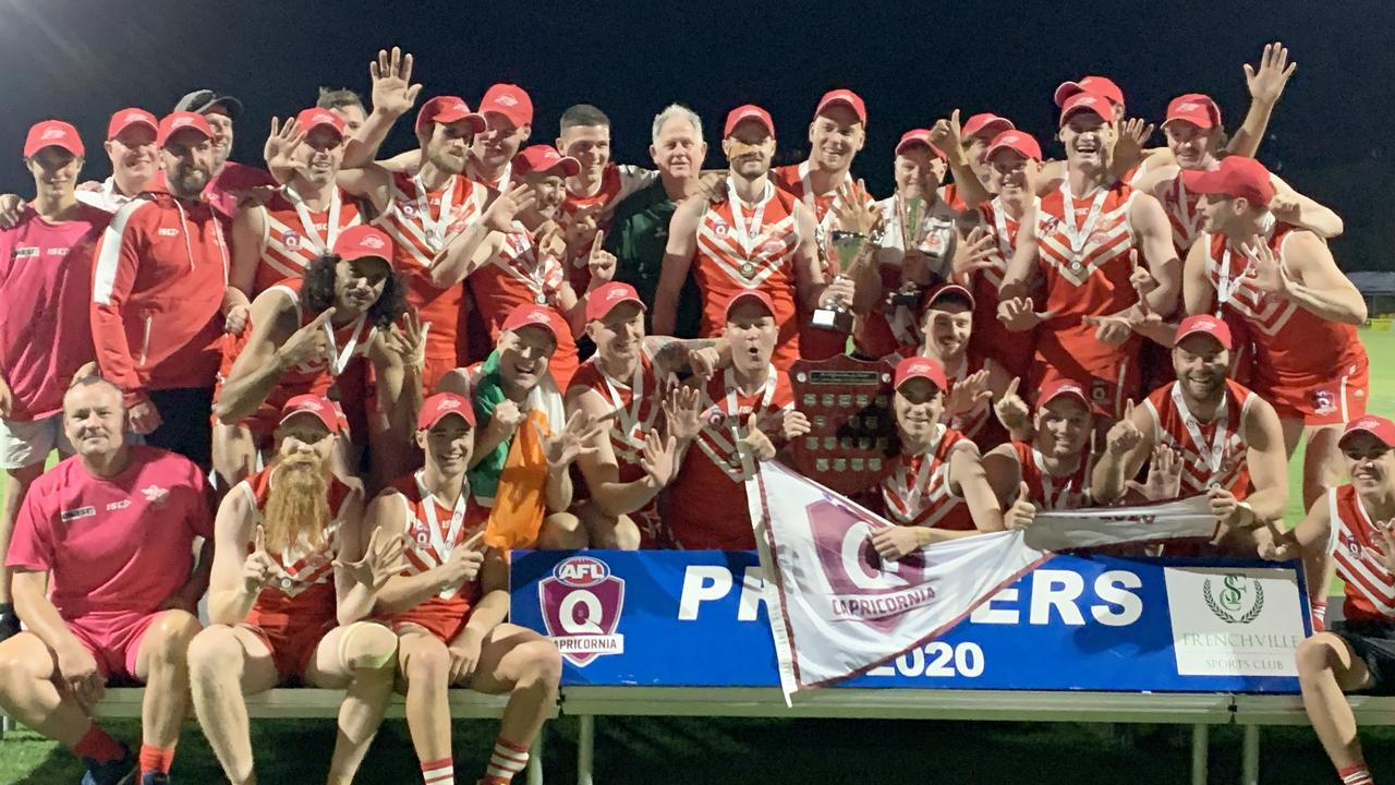 The Yeppoon Swans celebrate their grand final win over BITS Saints on Saturday night. Photo: Jann Houley