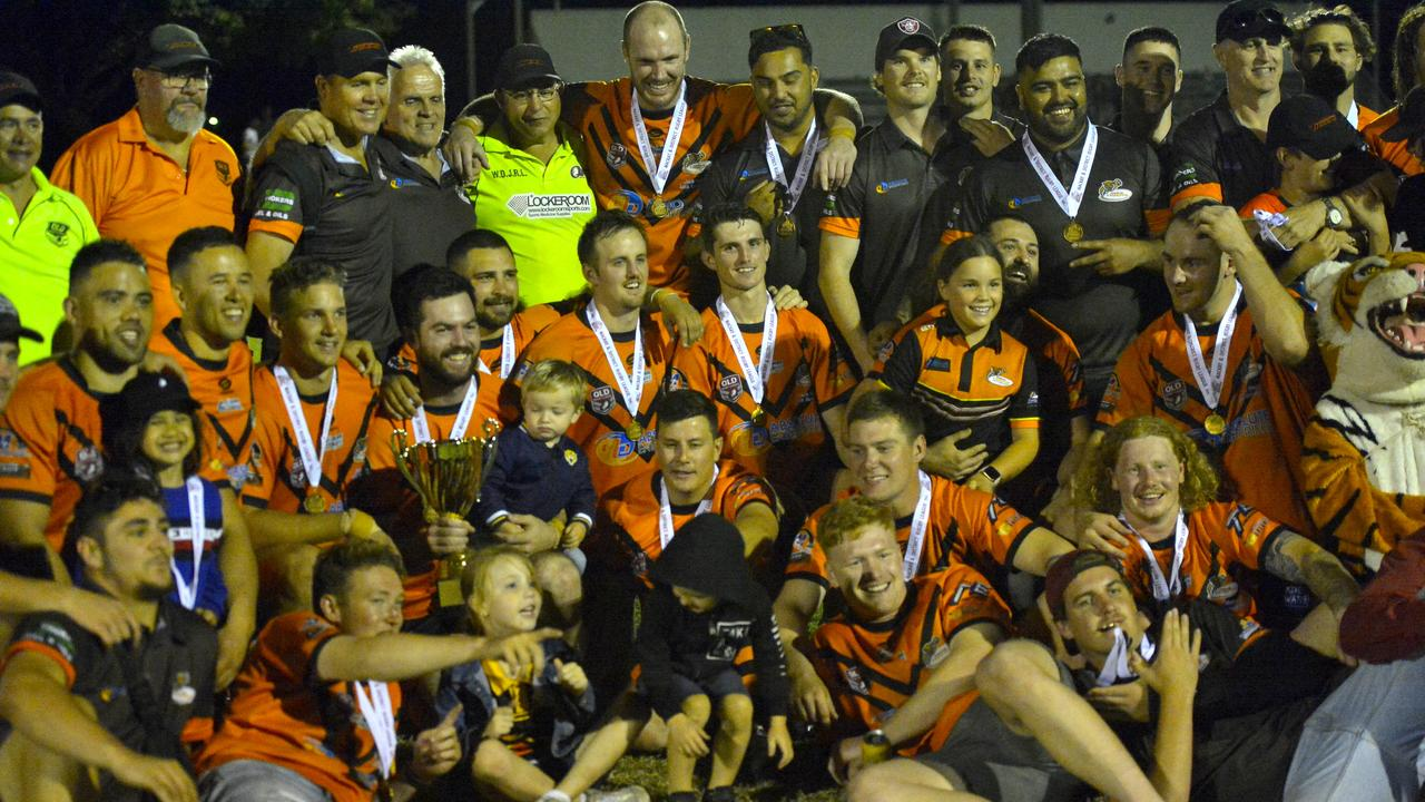 Wests Tigers defeated Townsville Brothers 42-18 to claim the Rugby League Mackay & District A-Grade premiership. Photo: Callum Dick