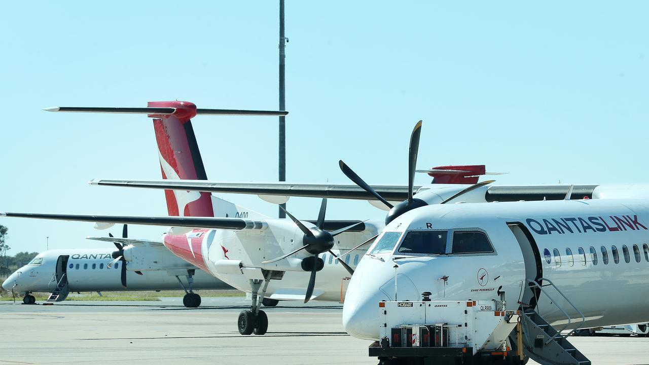 Qantas planes at Brisbane airport. Picture: Liam Kidston.