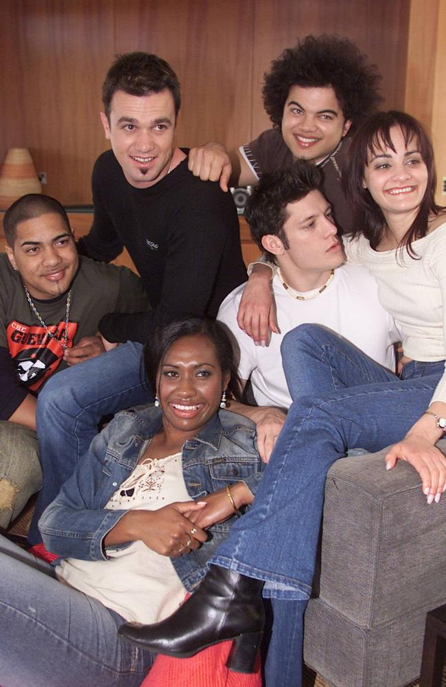 Levi Kereama, Shannon Noll, Guy Sebastian, Paulini Curuenavuli, Rob Mills and Cosima De Vito, inside the Idol house in 2003. Picture: Supplied