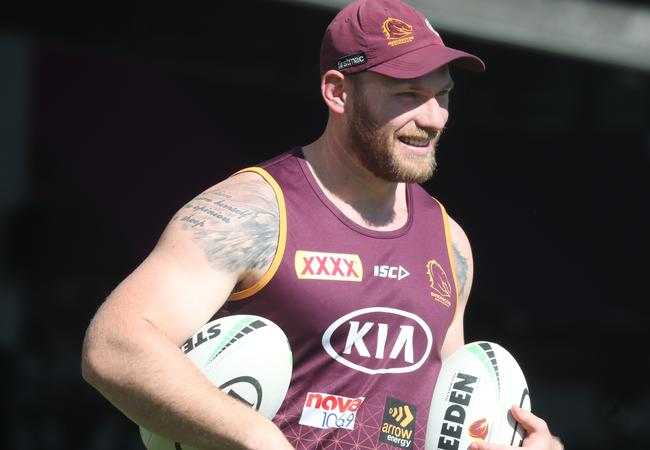 Matt lodge is a dominant character at the Broncos. Picture: Annette Dew