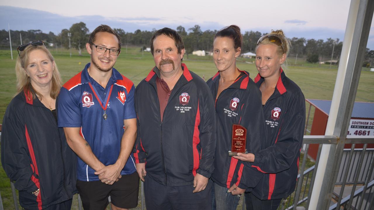 Warwick Redbacks league trophy winners (from left) Karen Clarke, Tyhe Clarkson, Dave Drewery, Lisa and Naomi Elliott. Picture: Gerard Walsh