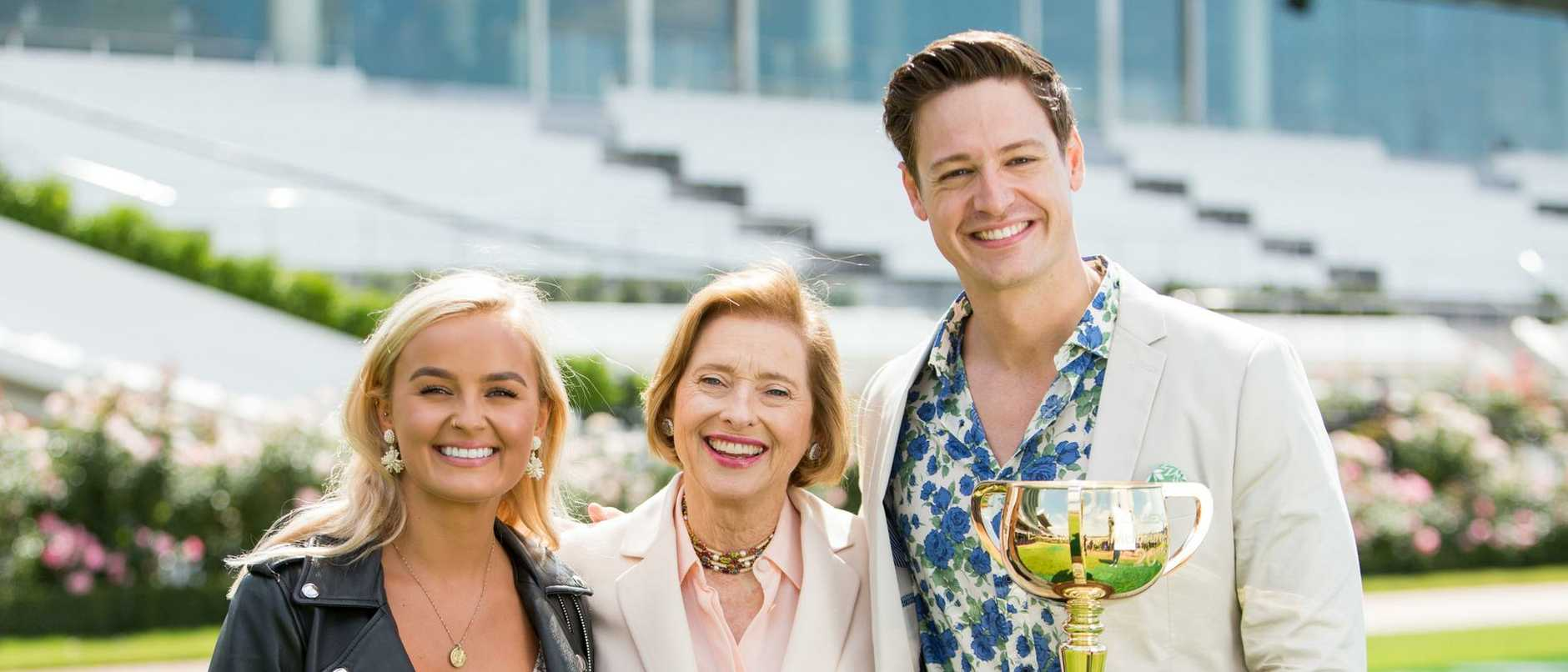 On track … Racing legend Gai Waterhouse with Elly Miles and Matt Agnew on The Bachelor.