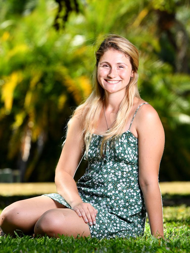 Gabrielle Mea 20, an American student studying at James Cook University is unable to return home while COVID-19 restrictions are in place. Picture: Alix Sweeney