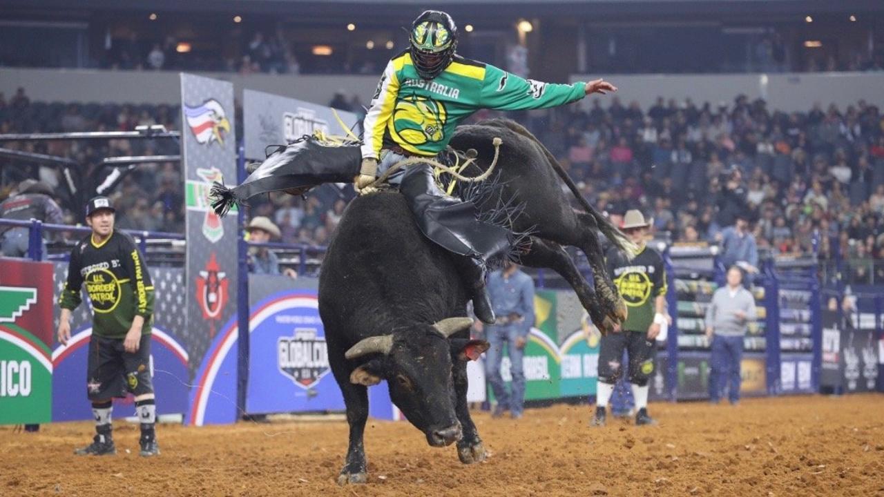 Bull rider Brady Fielder in action.