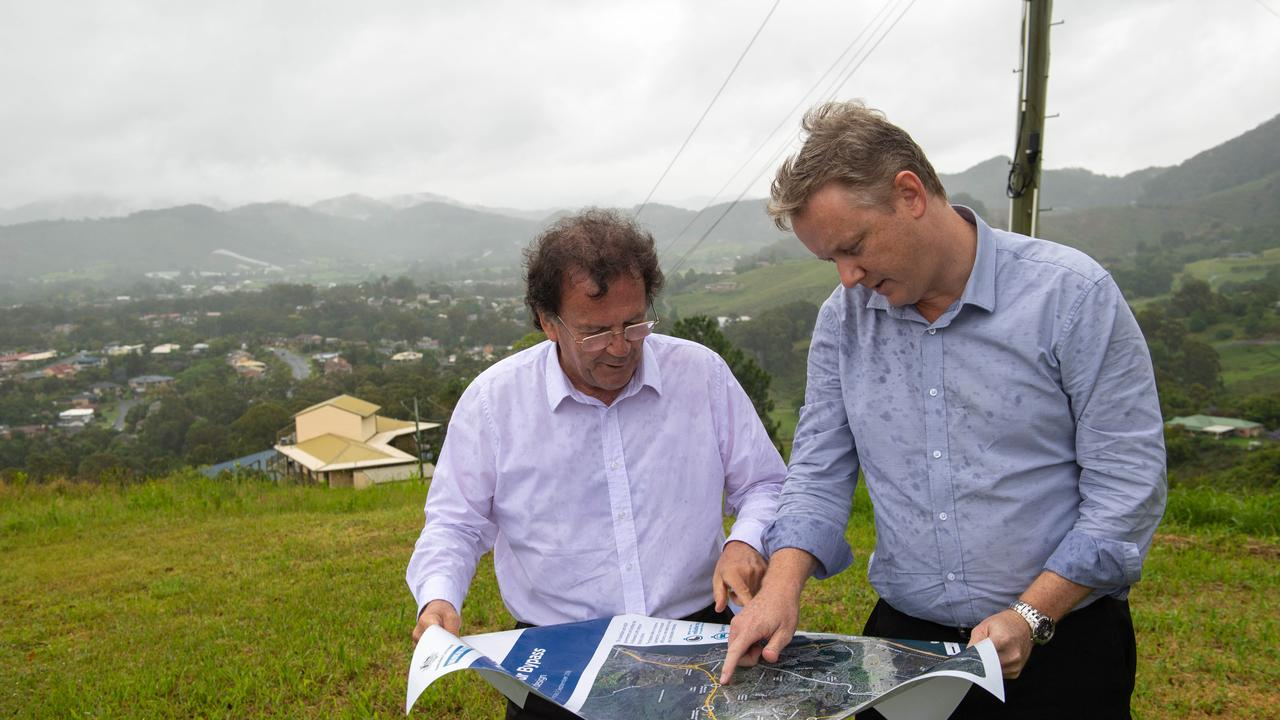 BOTH GONE: Adam Cameron (at right) resigned as Coffs bypass project manager. He is pictured with John Alexander (who has also since left the RMS) during a visit to Coffs Harbour in November 2018.