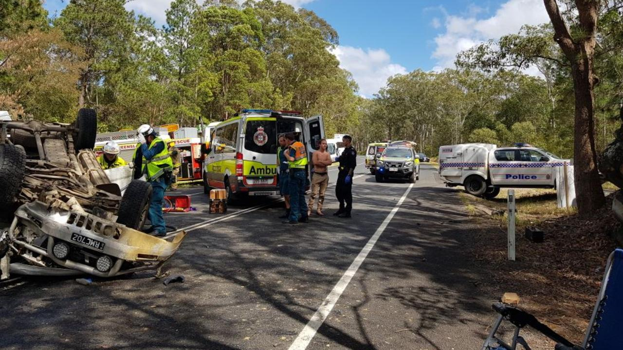 Emergency services were called to a two-car collision at Landsborough Maleny Rd shortly before 9am on Sunday.
