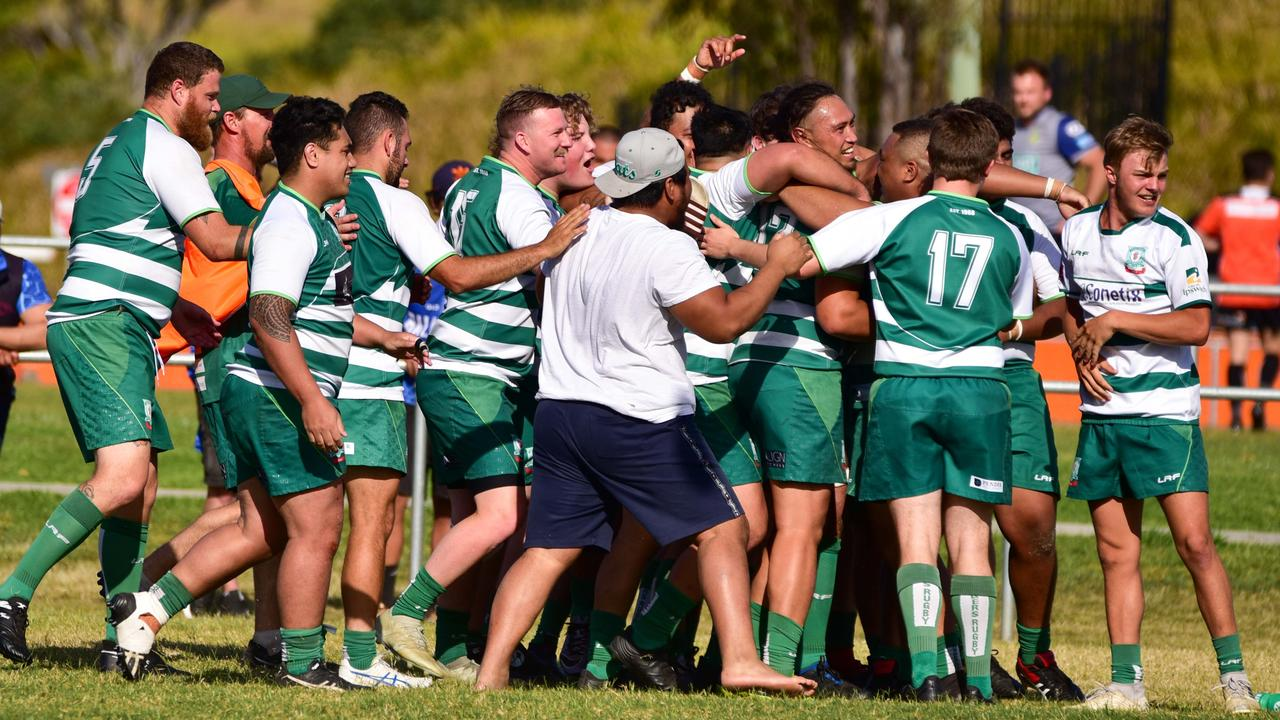 Ipswich Rangers players celebrate their nailbiting 33-32 Barber Cup elimination final victory over Springfield Lakes. Picture: Bruce Clayton