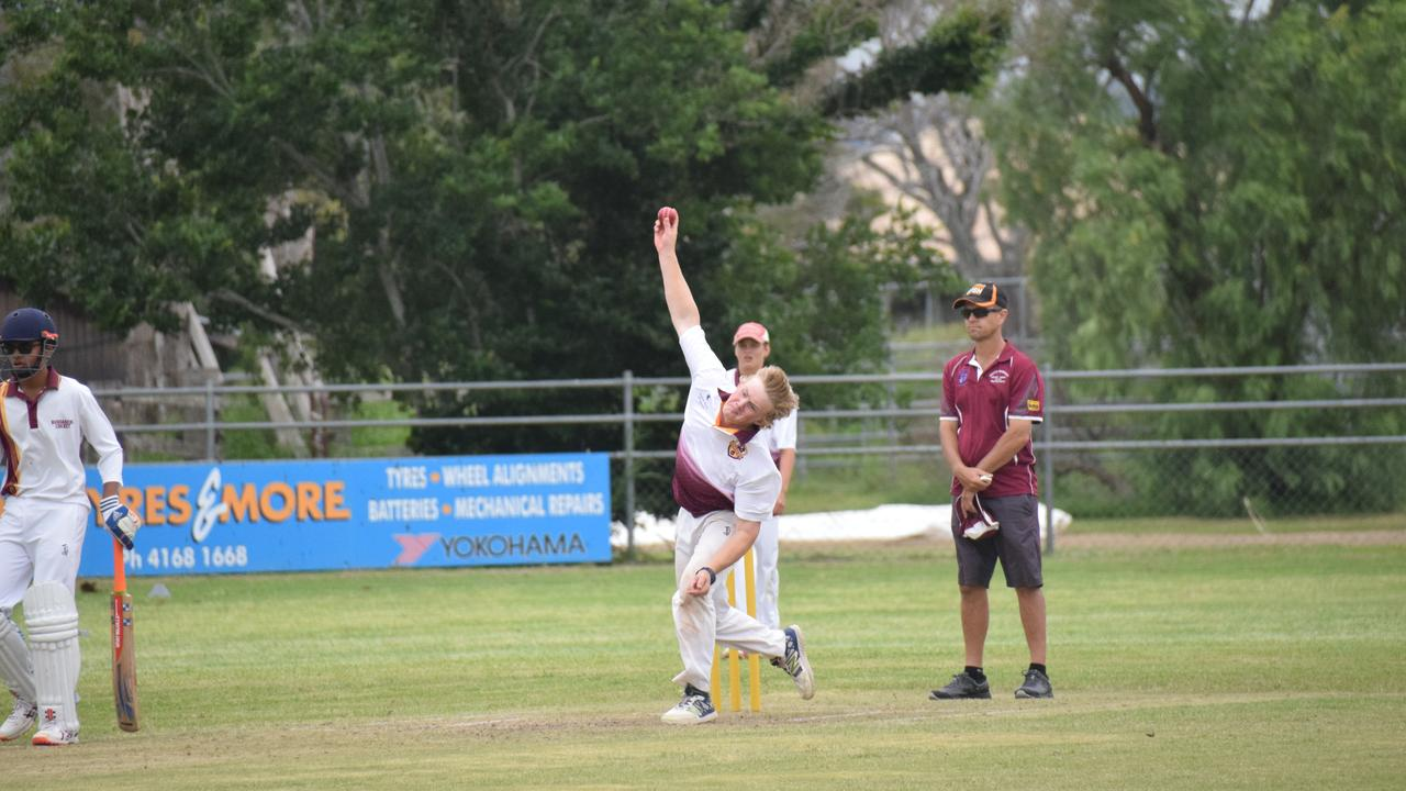 Sanewski bowling for the U16 South Burnett Cricket Side last year. (Picture: Tristan Evert)