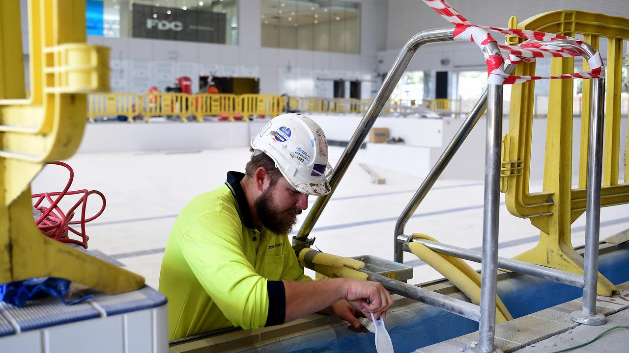 A construction worker at the new Ashfield Aquatic Centre, in Sydney. Picture: Bianca De Marchi/NCA NewsWire