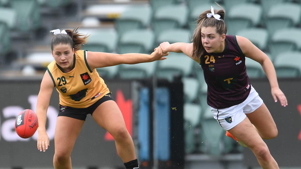 Tasmania's AFLW U18 All-Stars matc took place in Launceston last week. Picture: Steve Bell/AFL Photos