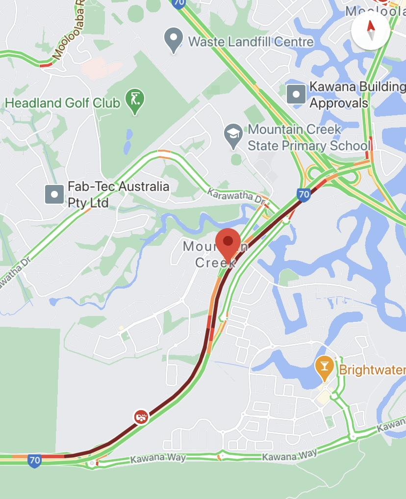 Heavy congestion is expected on the Sunshine Motorway at Mountain Creek after a two-vehicle crash.