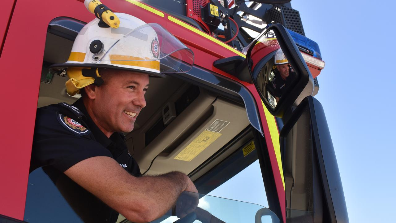 Senior firefighter Mackenzie Rowe with the new Combined Aerial Pumping Appliances, or CAPA, fire truck at the Mackay Fire Station, Alfred St. Picture: Zizi Averill