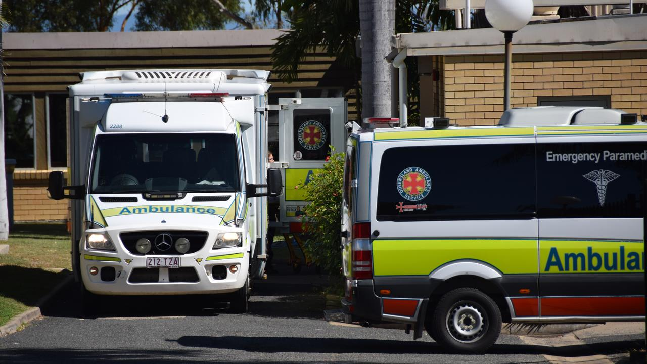 COVID FEARS: Ambulances queue outside of North Rockhampton Nursing Centre to evacuate residents after one of the nurses tested positive to coronavirus in May.