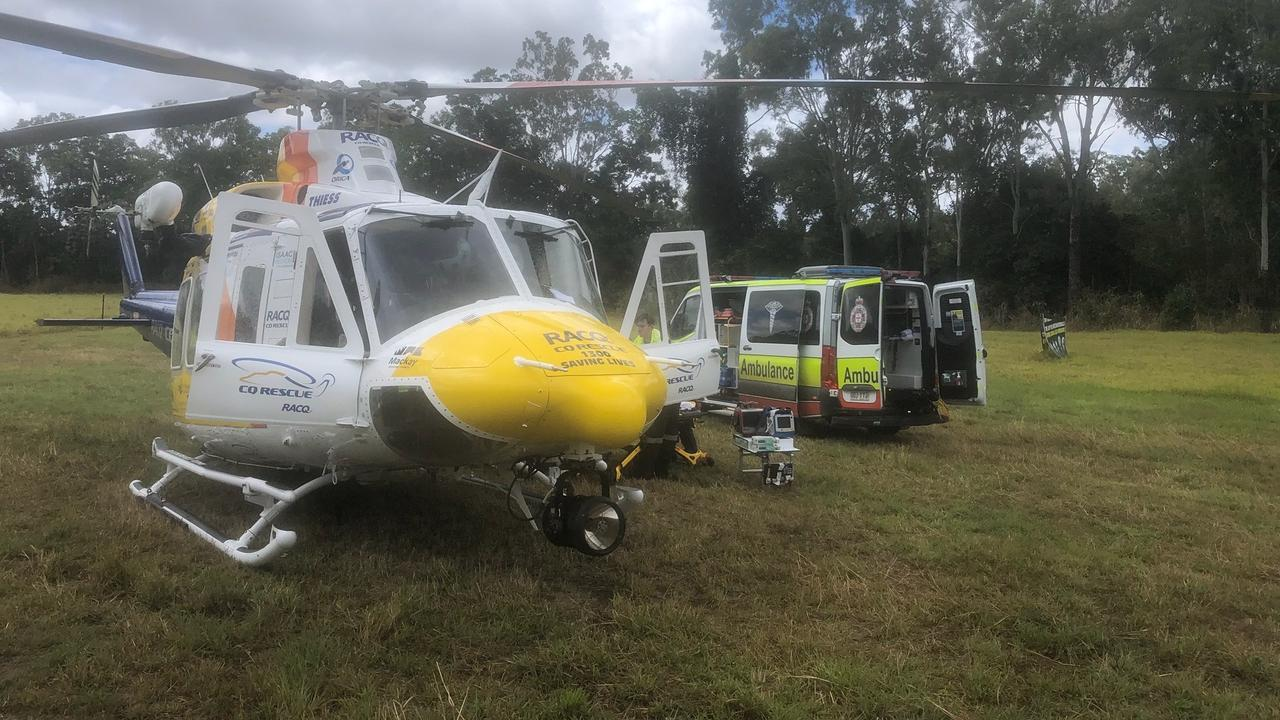RACQ CQ Rescue was tasked to Yalboroo on Monday after a 13-year-old girl was flung from a dirt bike and landed near a beehive. Picture: Supplied.