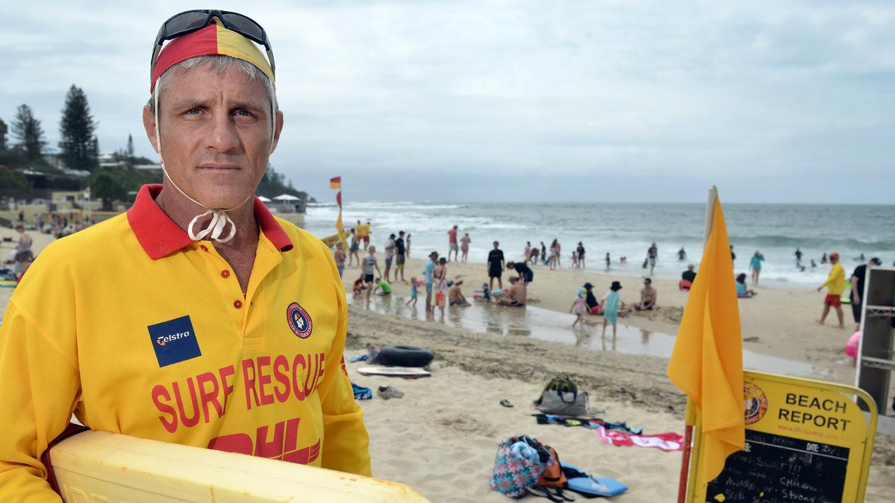 Kings Beach Patrol member and ex-councillor Tim Dwyer on Sunday shift duty back in 2016. Photo Patrick Woods / Sunshine Coast Daily