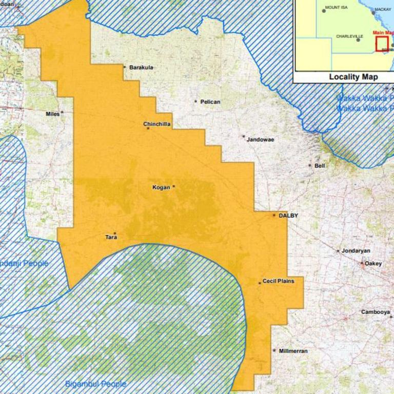 WESTERN DOWNS: Arrow Energy's map of the agreed area for the Indigenous Land Use Agreement. Pic: Commonwealth of Australia (Geoscience Australia) 2012.
