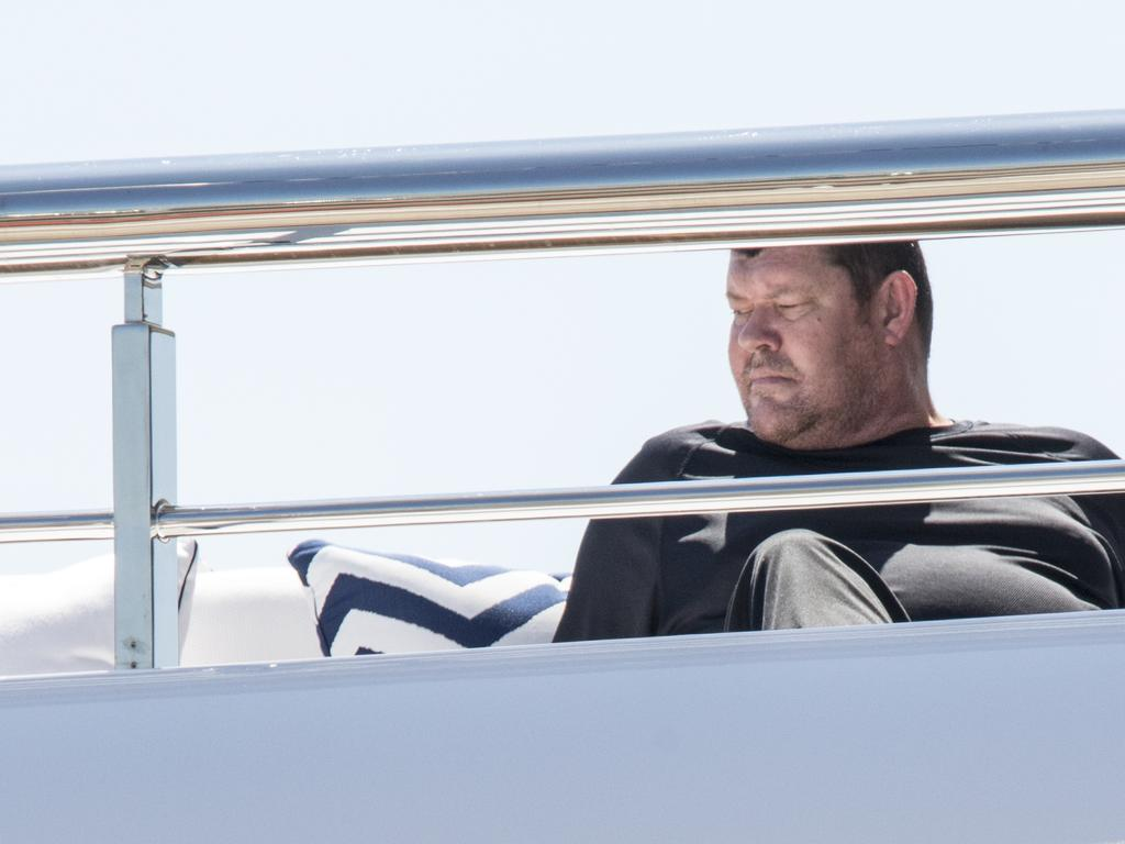 James Packer on yacht IJE, from where he gave his testimony. Picture Ella Pellegrini