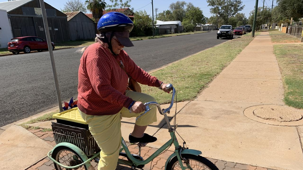 Patricia 'Patty' Jones getting ready to ride home after a hair appointment