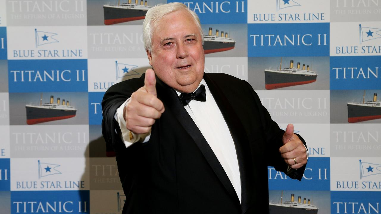 Clive Palmer in Cairns for the Titanic II dinner at the Pullman Cairns International. PICTURE: STEWART MCLEAN