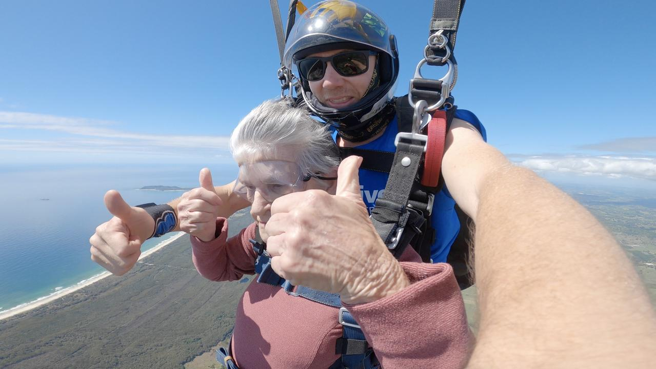 Ballina woman Mavis Austen, aged 90, went skydiving with Skydive Australia Byron Bay on Sunday, October 4.