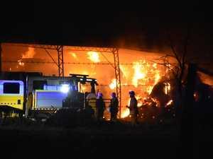 Shed on fire near Warwick