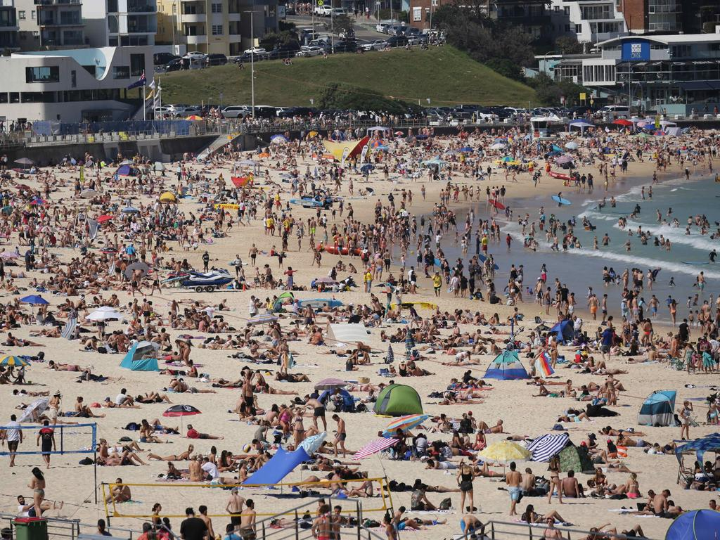 Huge crowds flocked to Bondi Beach on Monday, with the council warning people not to visit the beach as numbers neared capacity. Picture: Christian Gilles/NCA NewsWire