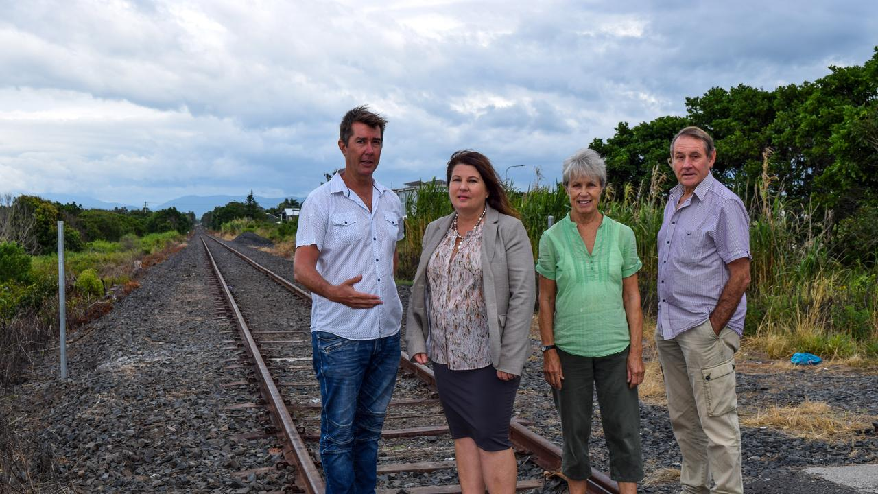 North Coast Destination Network chairman, Cameron Arnold with Ballina MP Tamara Smith and Northern Rivers Rail Trail treasurer, Maree Lawton and president, Pat Grier discussed staging the rail trail project from Byron Bay to Ewingsdale.