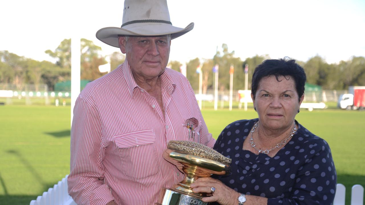 Warwick Polocrosse Club president Les Fraser and treasurer Robyn Fraser with the World Cup. Picture: Gerard Walsh