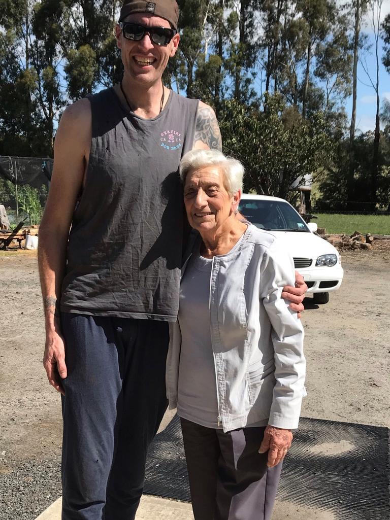 Jarrad Lovison and his grandmother.