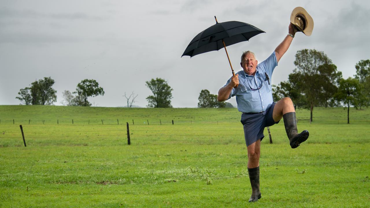 Gatton grazier Bill Hallas jumping for joy earlier this year when it rained in Gatton. PHOTO: Ali Kuchel.